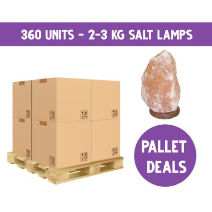 PALLET DEAL - 2-3kg Salt Lamps on Wooden Base & Lead - 360 Pieces