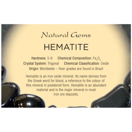 Natural Gems - Hematite Educational Info Cards - Pack of 50