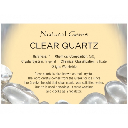 Natural Gems - Clear Quartz Educational Info Cards - Pack of 50