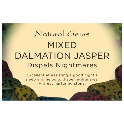 Natural Gems - Dalmatian Jasper (Mixed) Crystal Information Cards - Pack of 50
