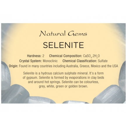 Natural Gems - Selenite Educational Info Cards - Pack of 50