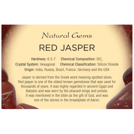 Natural Gems - Red Jasper Educational Info Cards - Pack of 50