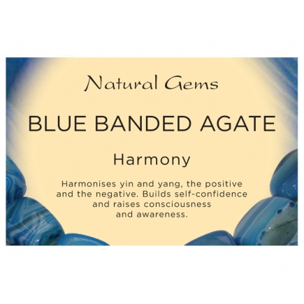 Natural Gems - Blue Banded Agate Crystal Information Cards - Pack of 50