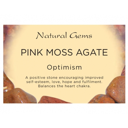 Natural Gems - Pink Moss Agate Crystal Information Cards - Pack of 50