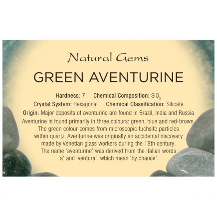 Natural Gems - Green Aventurine Educational Info Cards - Pack of 50