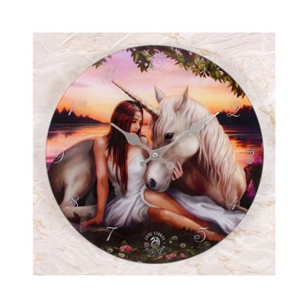 Anne Stokes Pure Heart Glass Wall Clock