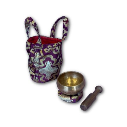 Wine red hand beaten singing bowl gift set