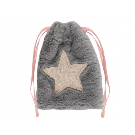 Plush Grey Star Drawstring Bag