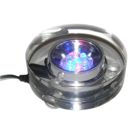 Crystal LED Light Base LED - Multicoloured with 3 pin UK Adaptor - 240V - 70mm