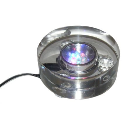 Crystal LED Light Base LED - Multicoloured with 3 pin UK Adaptor - 240V - 90mm