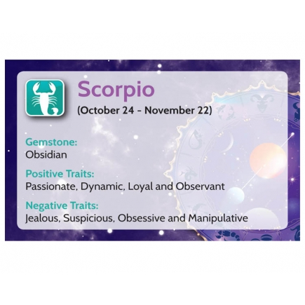 Natural Gems - Zodiac Information Cards - Scorpio - Pack of 50