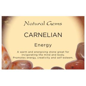 Natural Gems - Carnelian Crystal Information Cards - Pack of 50