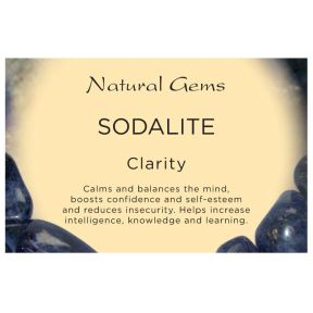 Natural Gems - Sodalite Crystal Information Cards - Pack of 50