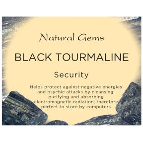 Natural Gems - Black Tourmaline Crystal Information Cards - Pack of 50
