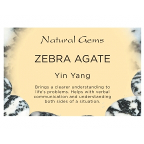 Natural Gems - Zebra Agate Crystal Information Cards - Pack of 50