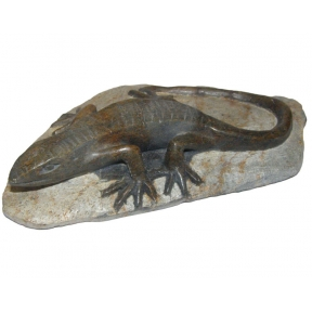 Hand Carved Black Serpentine Lizard On Rock