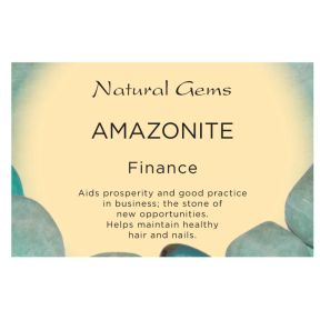 Natural Gems - Amazonite Crystal Information Cards - Pack of 50
