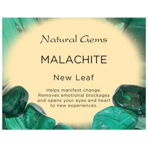 Natural Gems - Malachite Crystal Information Cards - Pack of 50