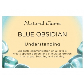 Natural Gems - Blue Obsidian Crystal Information Cards - Pack of 50