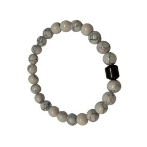 Howlite and Hematite Bead Bracelet