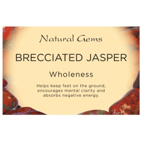 Natural Gems - Brecciated Jasper Crystal Information Cards - Pack of 50