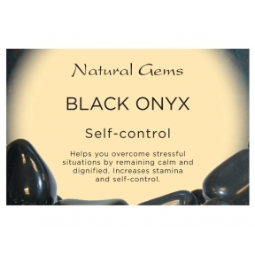 Natural Gems - Black Onyx Crystal Information Cards - Pack of 50