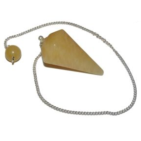 Orange Calcite Faceted Pendulum