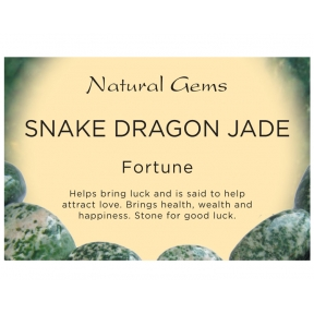 Natural Gems - Snake Dragon Jade Crystal Information Cards - Pack of 50