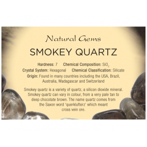 Natural Gems - Smoky Quartz Educational Info Cards - Pack of 50