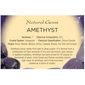 Natural Gems - Amethyst Educational Info Cards - Pack of 50