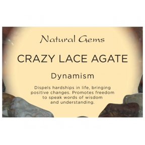 Natural Gems - Crazy Lace Agate Crystal Information Cards - Pack of 50