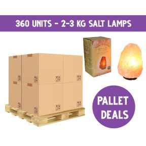 PALLET DEAL - 2-3kg Salt Lamps with gift box on Wooden Base & Lead - 360 Pieces