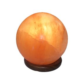 Ball Salt Lamp on Wooden Base
