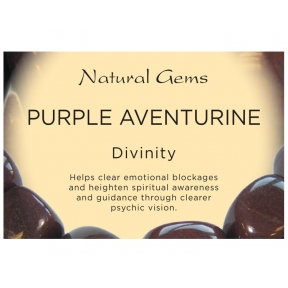 Natural Gems - Purple Aventurine Crystal Information Cards - Pack of 50