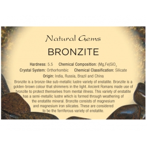 Natural Gems - Bronzite Educational Info Cards - Pack of 50