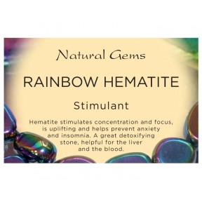 Natural Gems - Rainbow Hematite Crystal Information Cards - Pack of 50