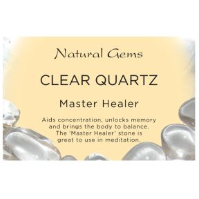 Natural Gems - Clear Quartz Crystal Information Cards - Pack of 50