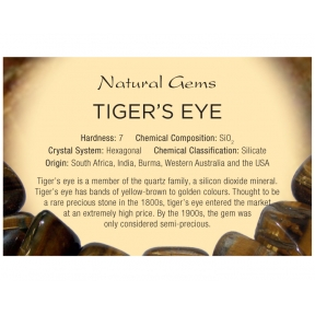 Natural Gems - Tiger Eye Educational Info Cards - Pack of 50