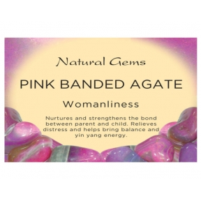 Natural Gems - Pink Banded Agate Crystal Information Cards - Pack of 50