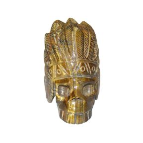 Tiger Eye Indian Skull