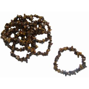 Tiger Eye Tumbled  Chip Bracelets Pack of 10