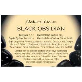 Natural Gems - Black Obsidian Educational Info Cards - Pack of 50