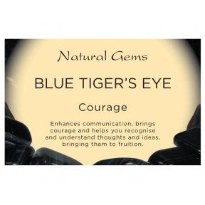 Natural Gems - Blue Tiger Eye Crystal Information Cards - Pack of 50