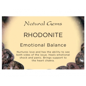 Natural Gems - Rhodonite Crystal Information Cards - Pack of 50