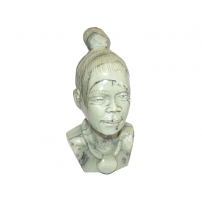 Hand Carved Butter Jade Tribal Lady