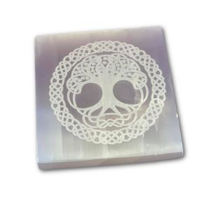 7cm Selenite Engraved Tree of Life Mandala Square Charging Plate