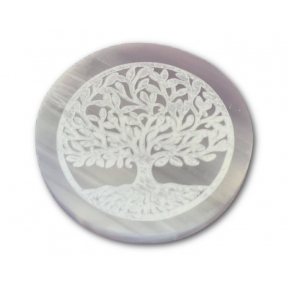 7cm Selenite Engraved Tree of Life Mandala Charging Plate