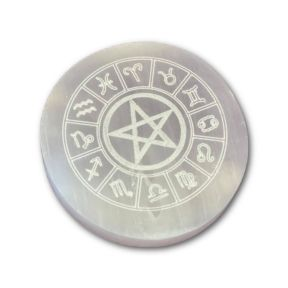 7cm Selenite Engraved Zodiac Charging Plate