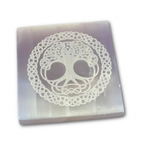 15cm Selenite Engraved Tree of Life Square Charging Plate