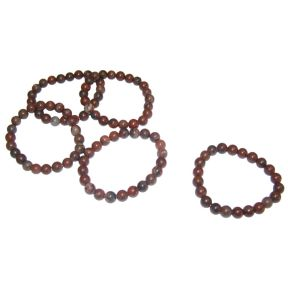 Red Picture Jasper Bead Bracelet - Pack of 5